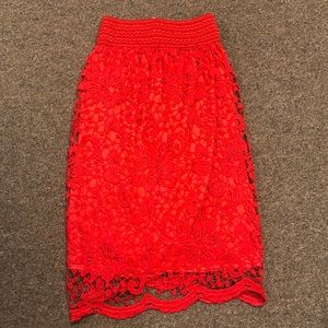 NWT C-Mode Bright Red Floral Skirt